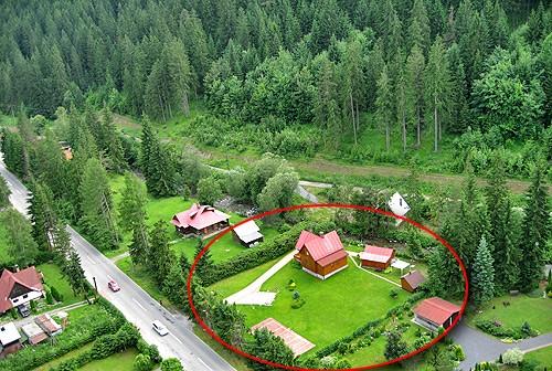 Letecký pohľad na chatu Jana